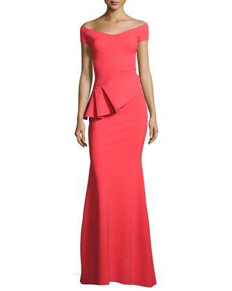 Lamia Off-the-Shoulder Peplum Jersey Gown, Aragosta by La Petite Robe di Chiara Boni at Neiman Marcus.