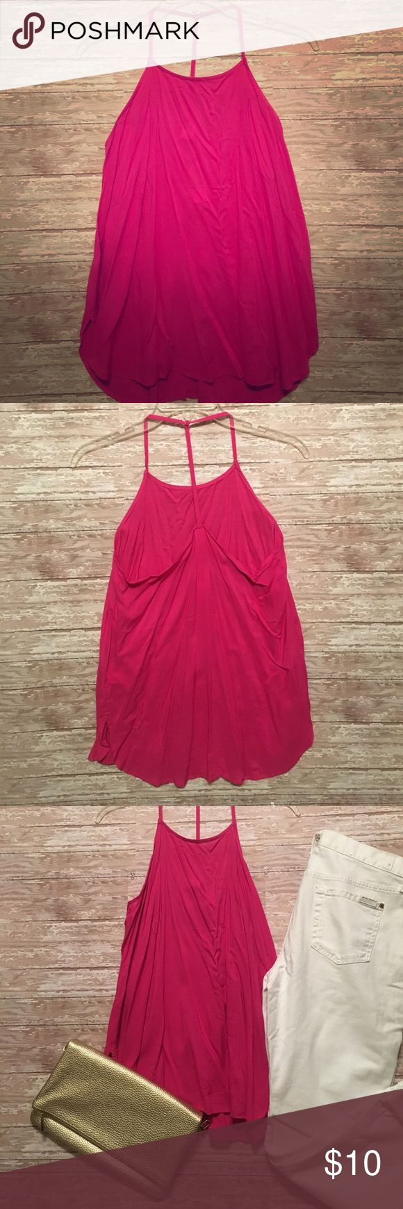 Selling this Fuschia t-back, halter tank on Poshmark! My username is: hals27. #shopmycloset #poshmark #fashion #shopping #style #forsale #Old Navy #Tops