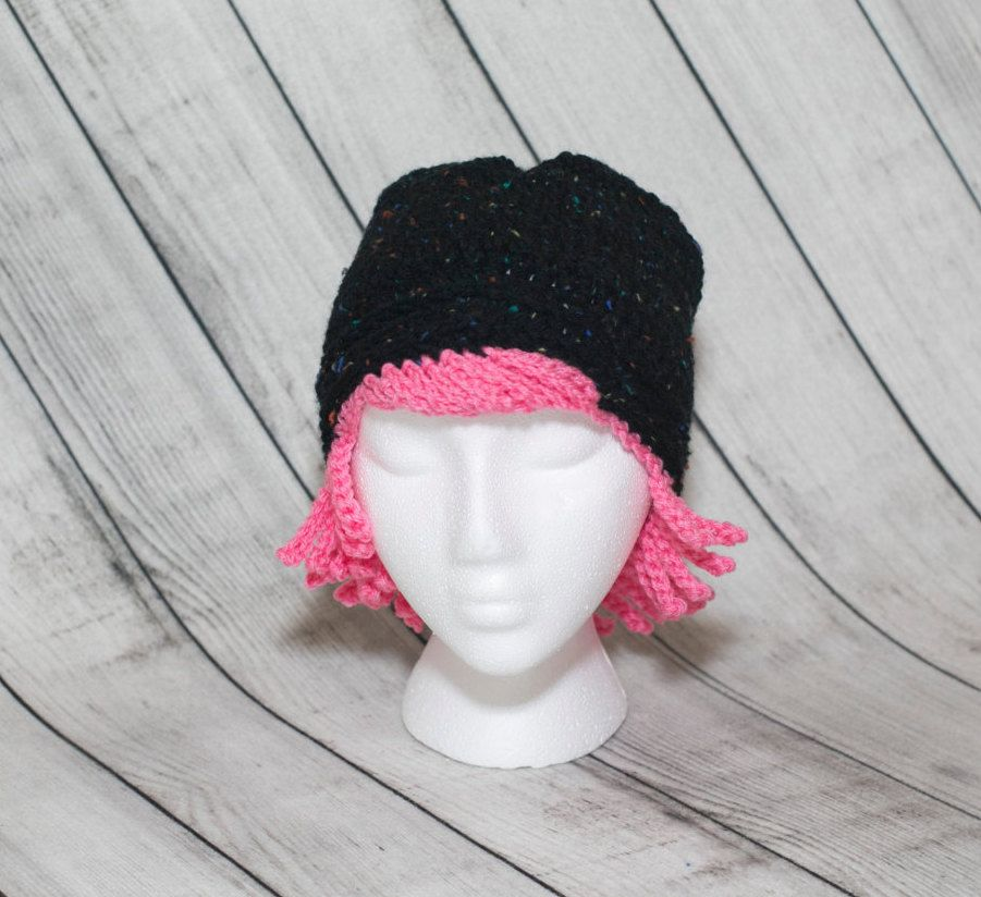 Crochet Beanie Hats/Breast Cancer Awareness/Pink Ribbon/Cancer Hats/Pink Hair/Black Beanies/Wigs for Women/Cancer Survivor/Handmade Gifts by Mandyscrochetshop on Etsy