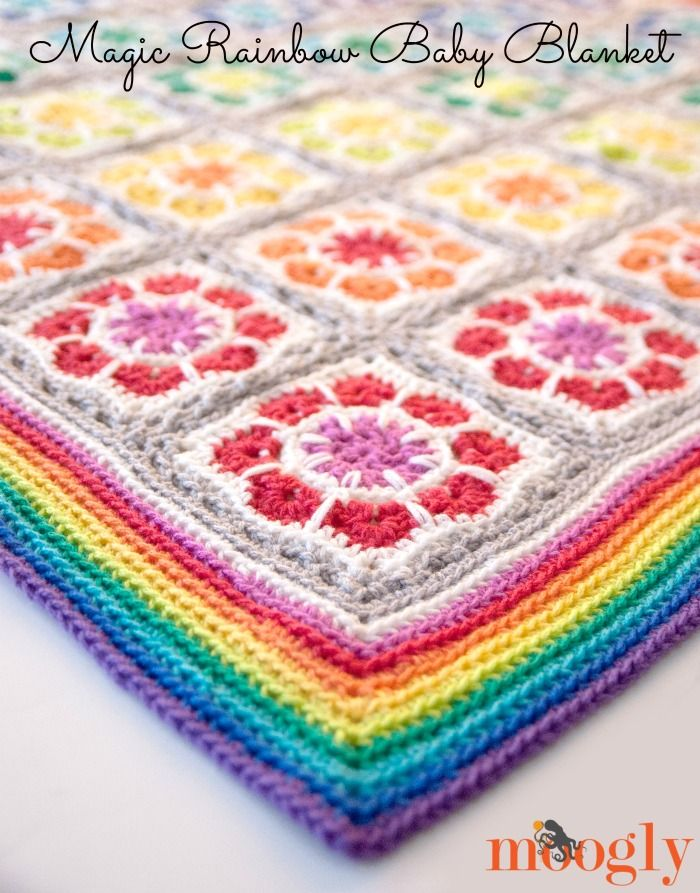 Manta Magic Rainbow bebé: Únete a la libre-as-you-go #crochet patrón ...