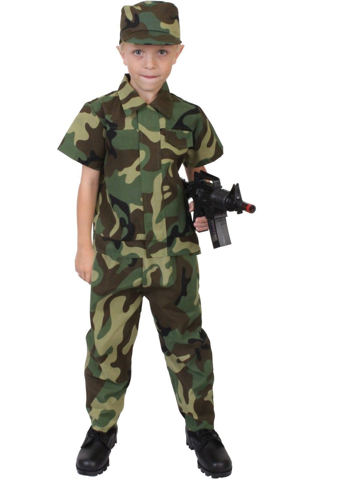 Kids Army Soldier Camouflage Dressing Up Costume Childrens Fancy Dress Boys