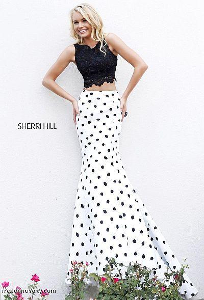 bdaeb608f650 Sherri Hill 21260 Sleeveless 2 Piece Polka Dot Gown - Two piece sleeveless polka  dot long evening dress
