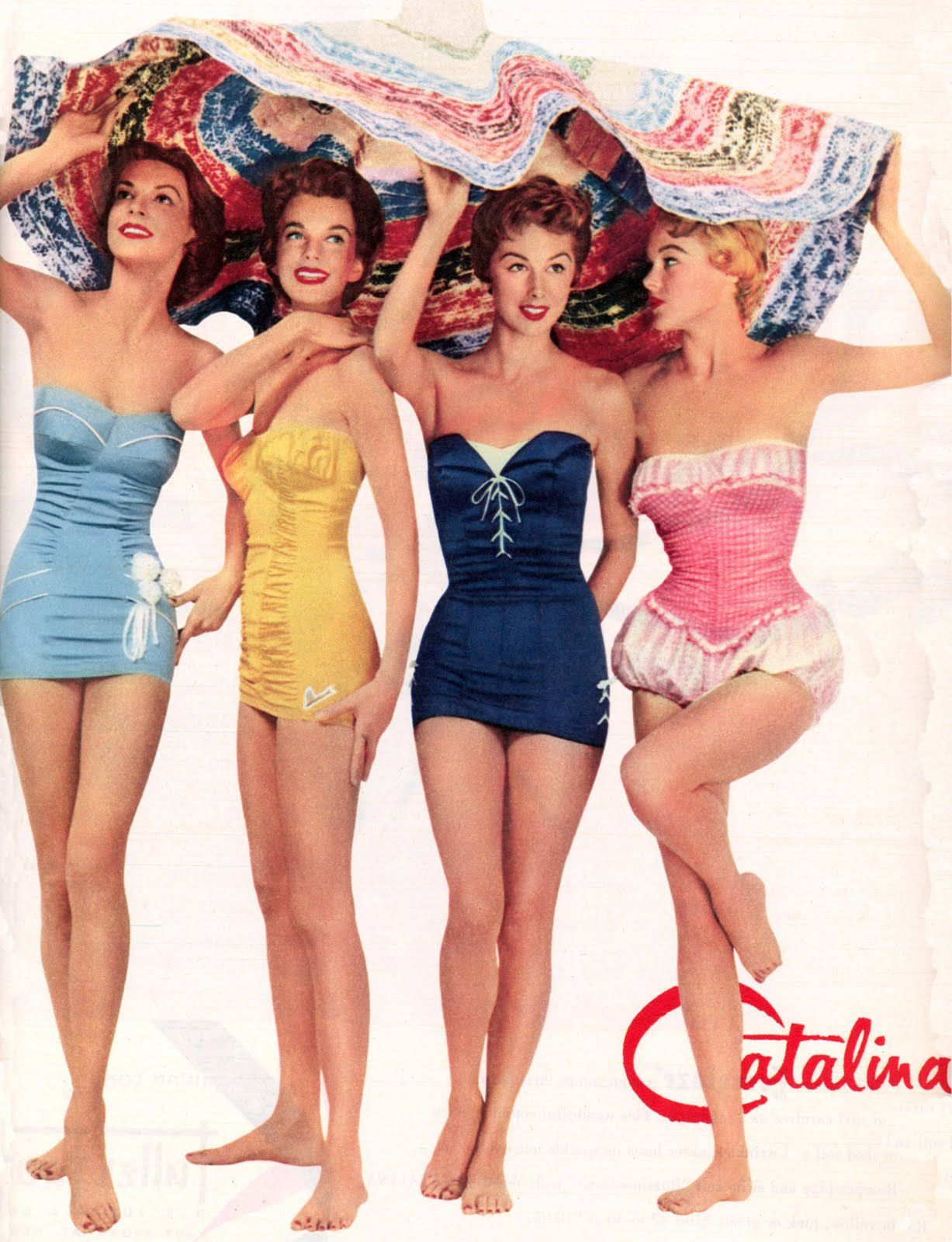 1950s swimsuits....love the dark blue one!!