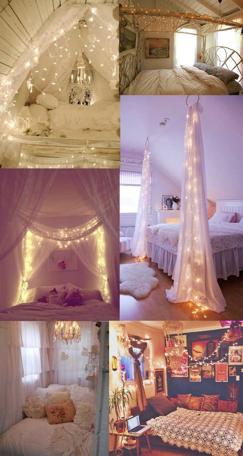 Purple christmas lights bedroom - Beautiful Diy Room Decorations