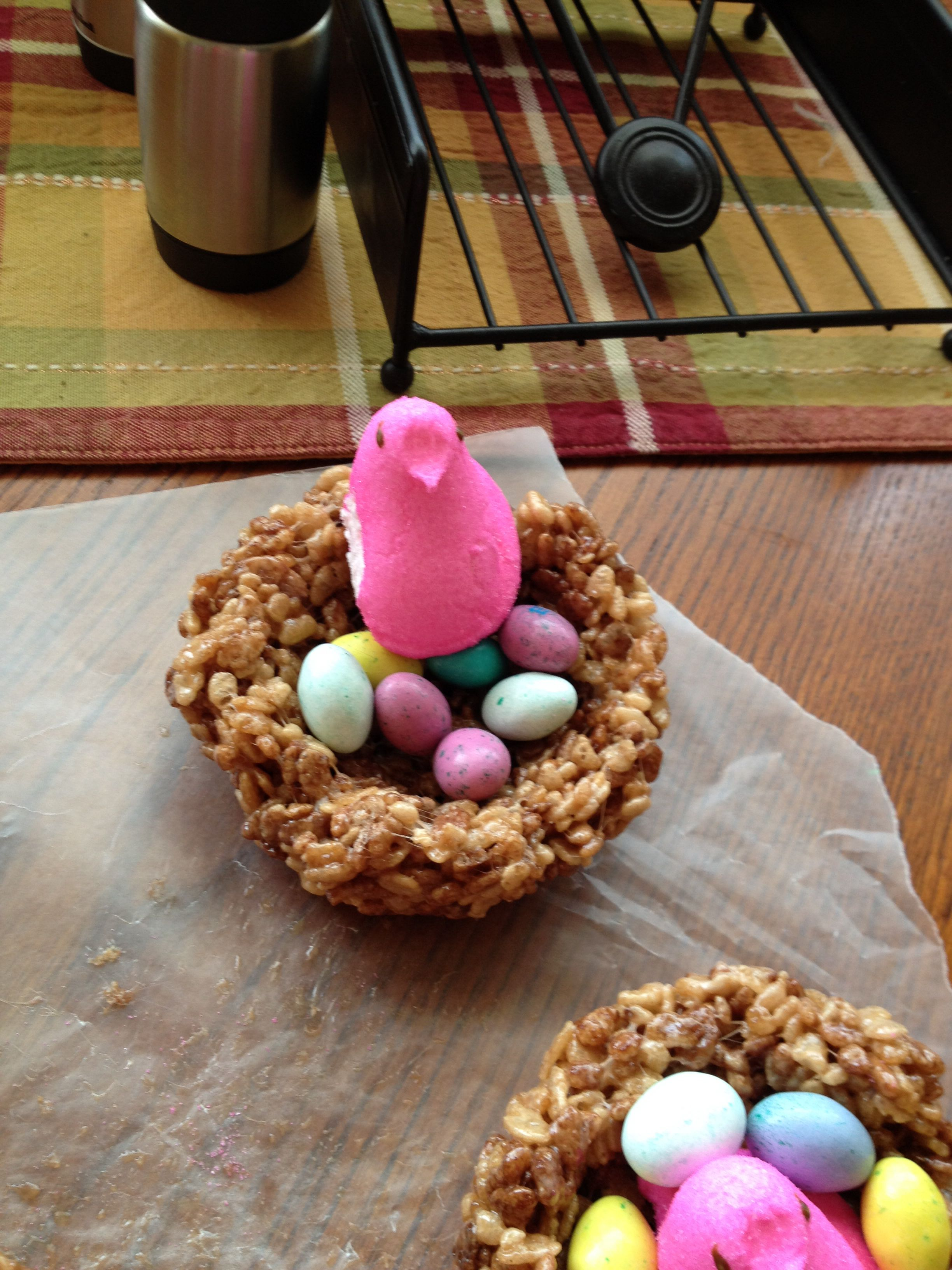 little birds with chocolate an regular rice krispies mm ( eggs) and peeps so yum!