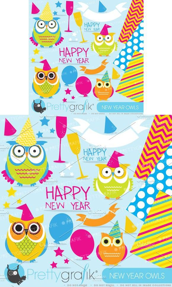 New Year Owls clipart commercial use (With images ...