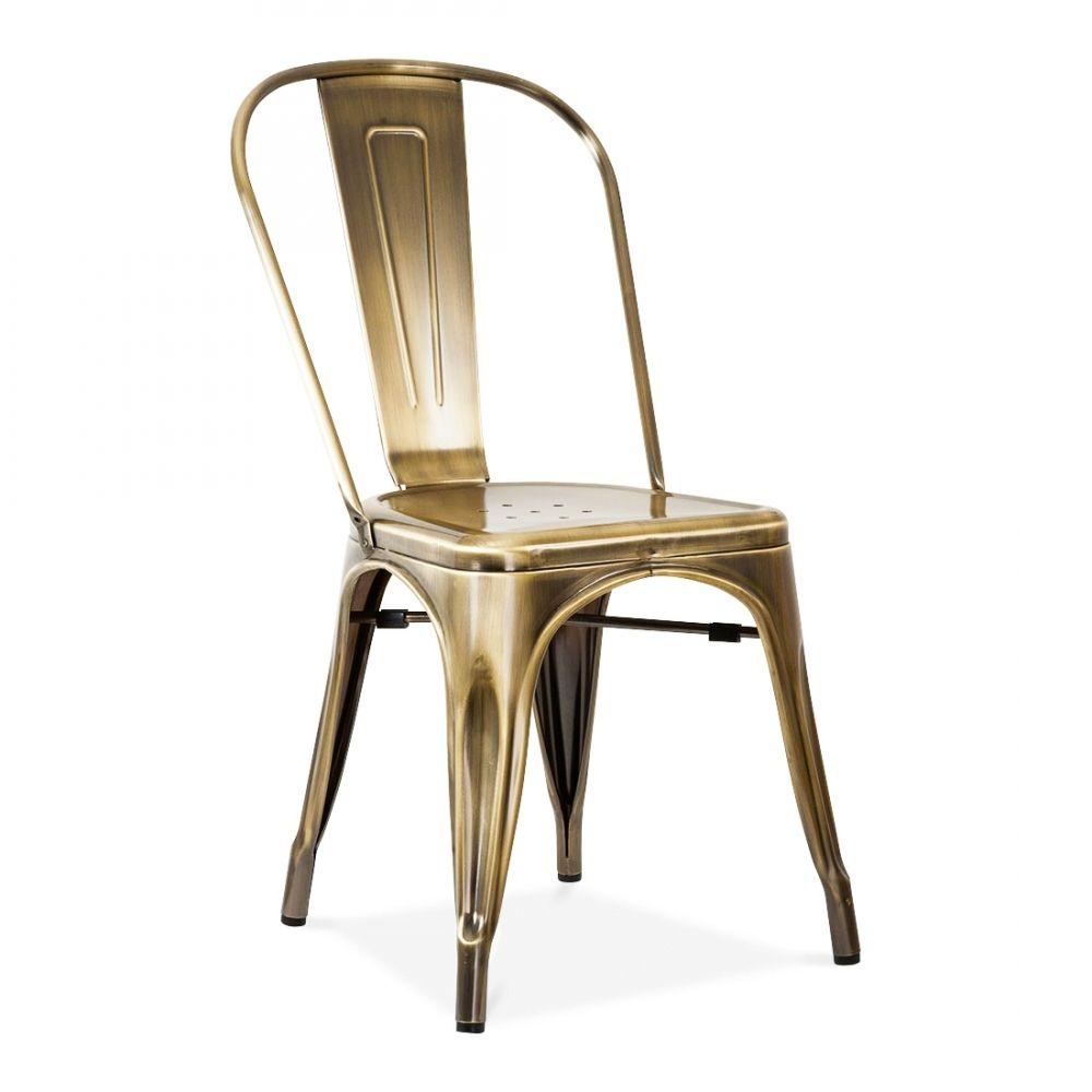Xavier Pauchard Tolix Style Metal Side Chair, Brass ...