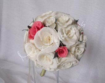 Bridal bouquet, wedding bouquet,paper flower bouquet, roses cream, red, wedding paper bouquet, wedding flower bouquet.