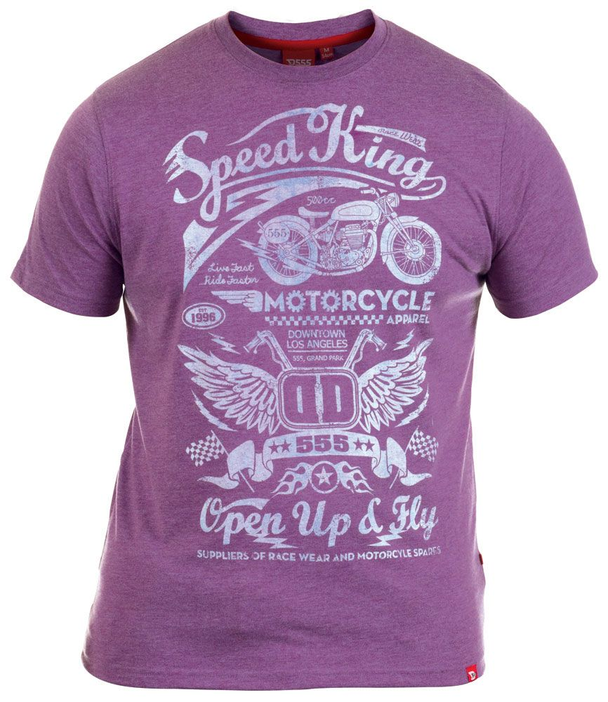 Kingsize retro 'Speed King' motorbike biker style print purple crew neck summer t-shirt in sizes 3XL - 6XL from Big Guys World - Fashion for the larger man.