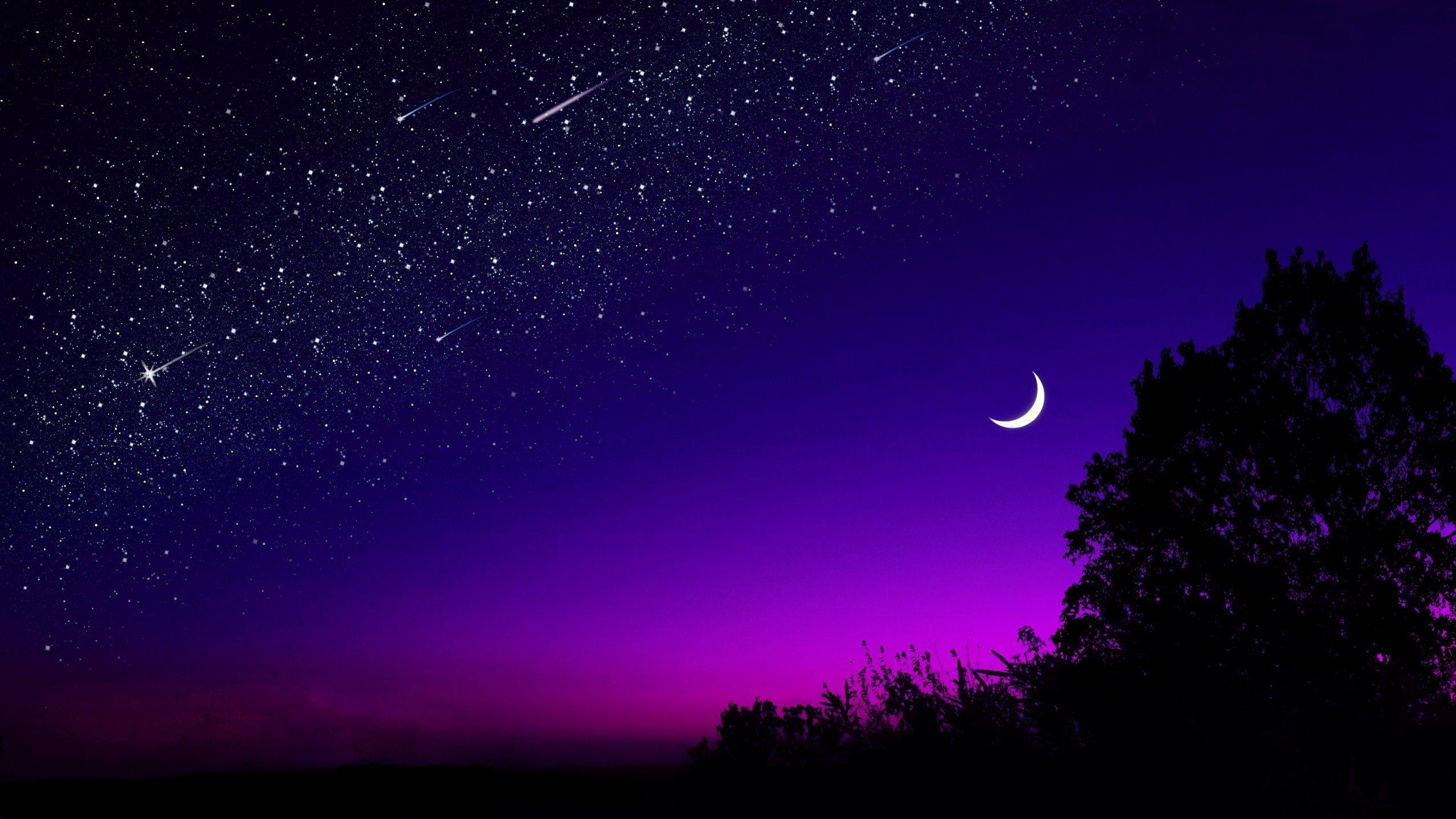 Pin By Ashfaque Khan On God S Art Night Sky Wallpaper Beautiful Wallpaper Hd Purple Sky 1080p night sky moon wallpaper hd