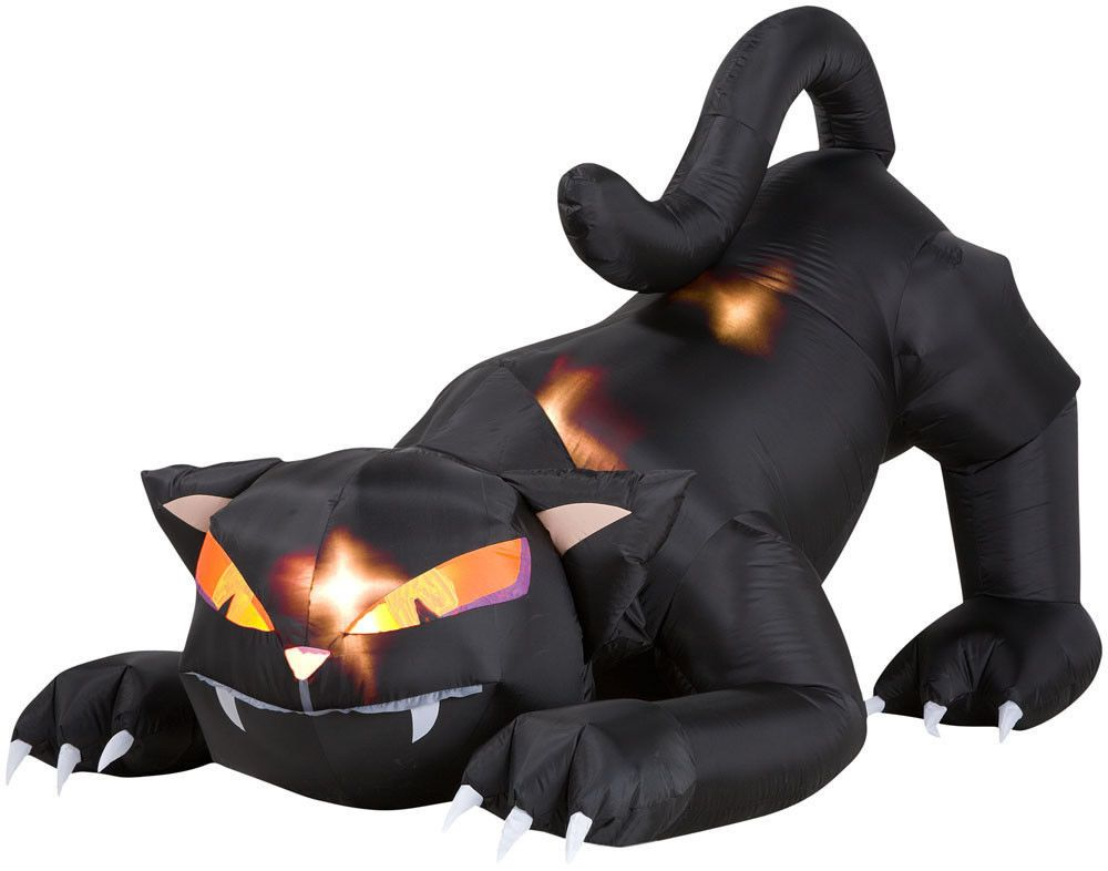 Airblown Inflatable Halloween Black Cat Turning Head by GEMMY - halloween inflatable decorations