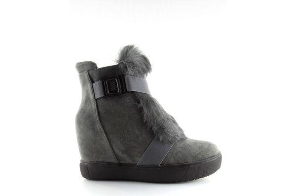 Sneakersy Z Futerkiem Szare 3123 D Grey Boots Shoes Winter Boot