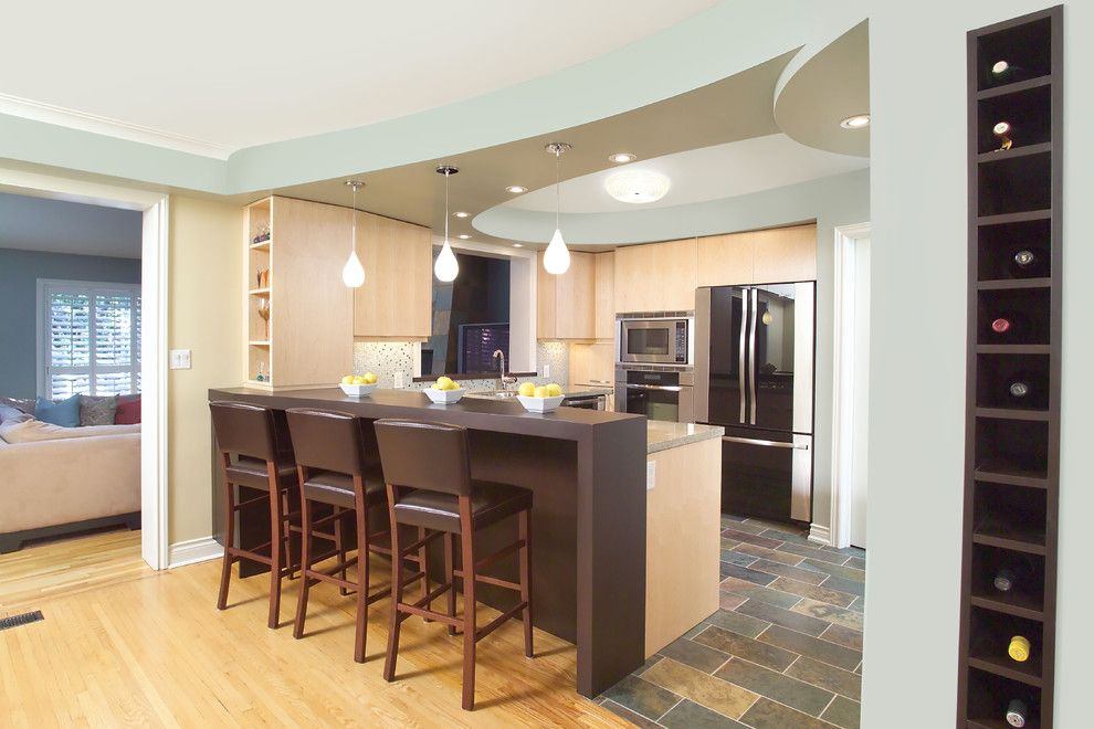 Tile To Wood Floor Transition Kitchen Eclectic With Ceiling Detail Storage