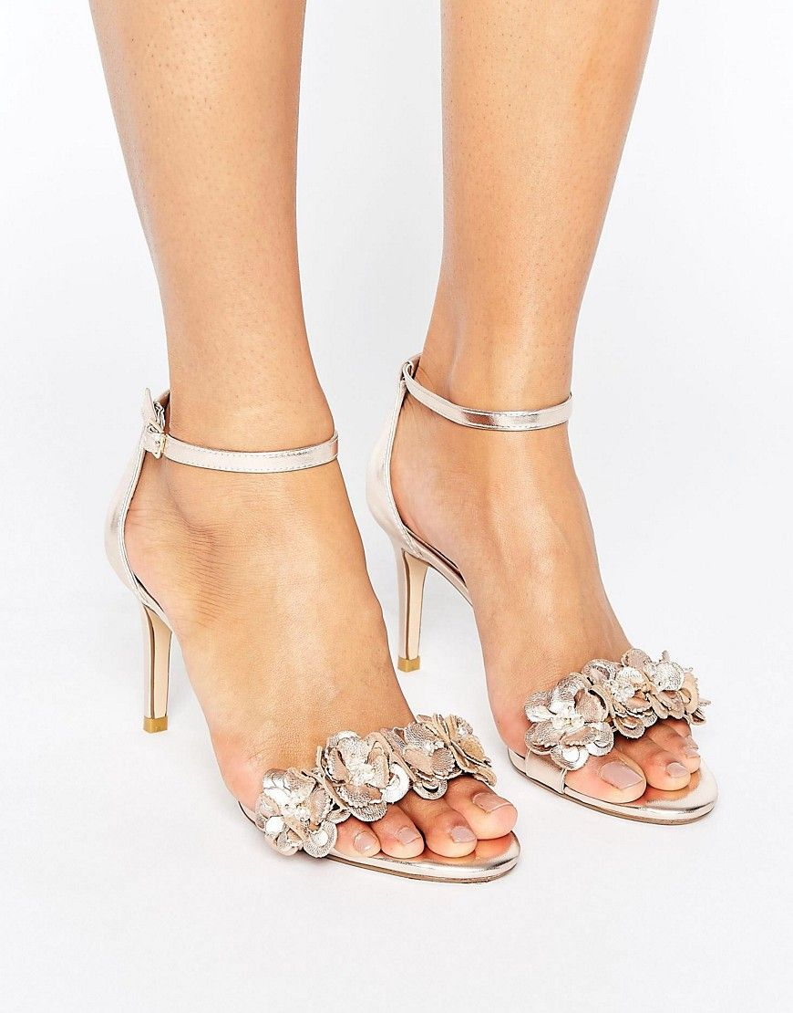 d7a57431585 DUNE MAGNOLEA HEELED SANDAL WITH APPLIQUE - SILVER.  dune  shoes ...