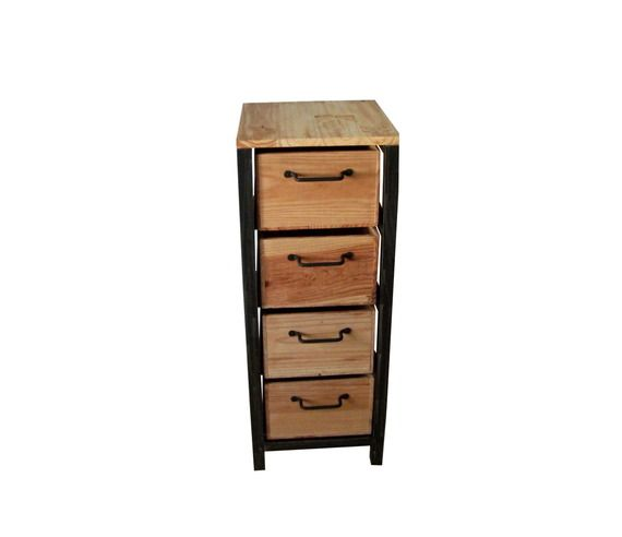 petit meuble de rangement chiffonnier industriel en acier. Black Bedroom Furniture Sets. Home Design Ideas