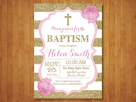 Pink And Gold Baptism Invitation Girl Christening Invitation