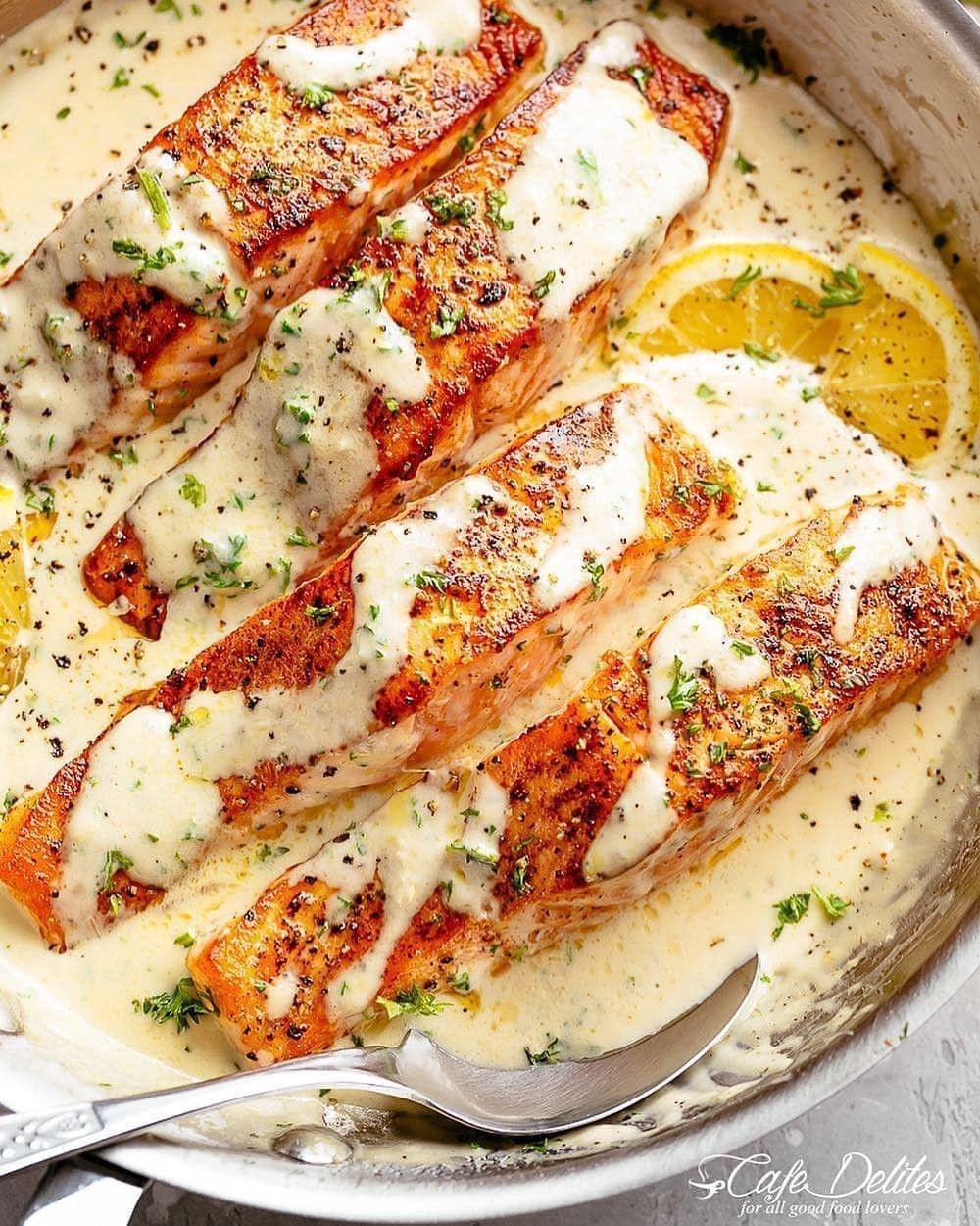 CREAMY garlic butter salmon - CREAMY garlic butter salmon – Keto Recipes – Medium -