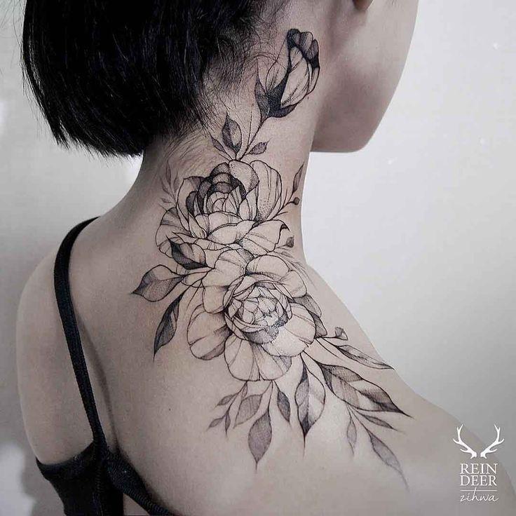 Rose Tattoo On Neck Besttattoo Site Rose Neck Tattoo Neck Tattoos Women Flower Neck Tattoo