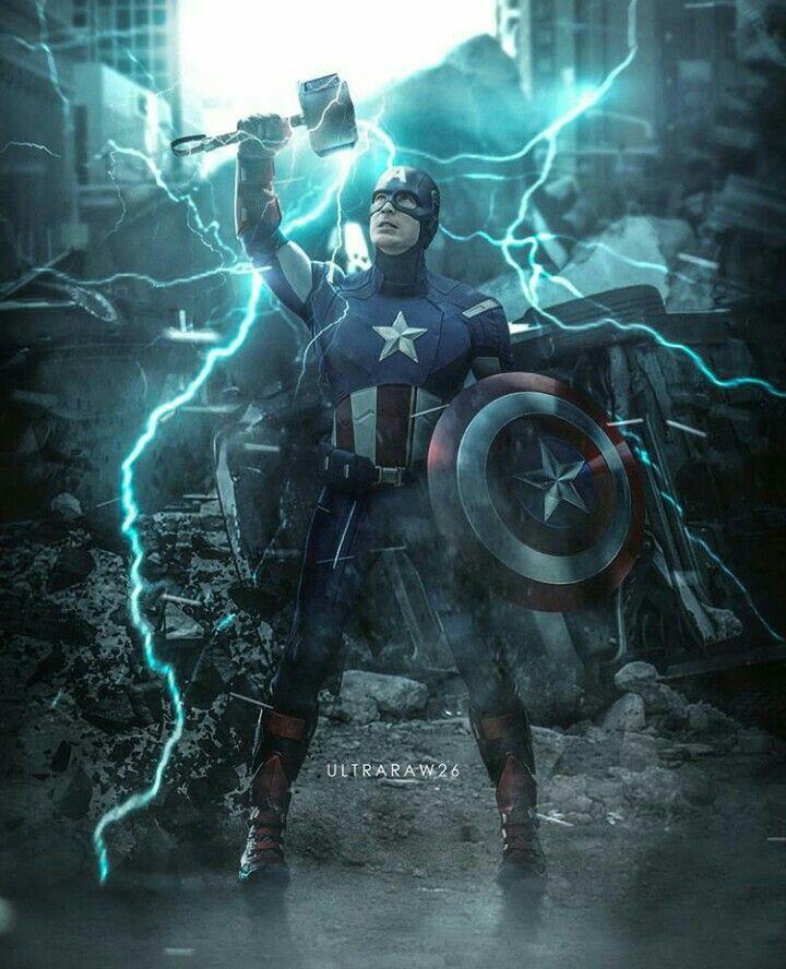Captain America Wielding The Mjolnir