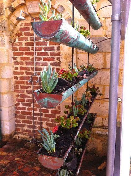 Succulents Including Blue Chalk Sticks Jelly Bean Sedums And Crassula Erosula Fill These Co Small Urban Garden Urban Garden Design Sustainable Garden Design