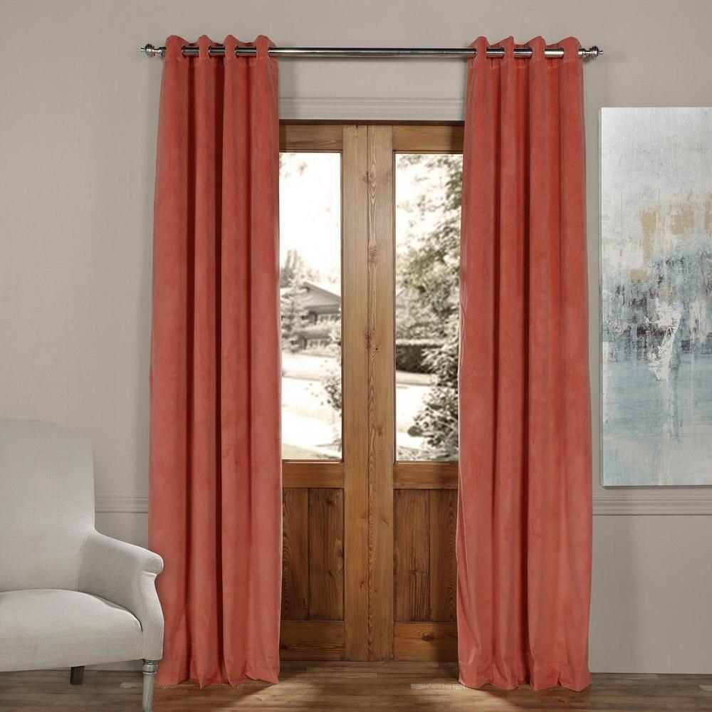 Exclusive Fabrics And Furnishings Signature Desert Coral Orange Grommet Blackout Velvet Curtain 50 In Velvet Curtains Half Price Drapes Shabby Chic Curtains