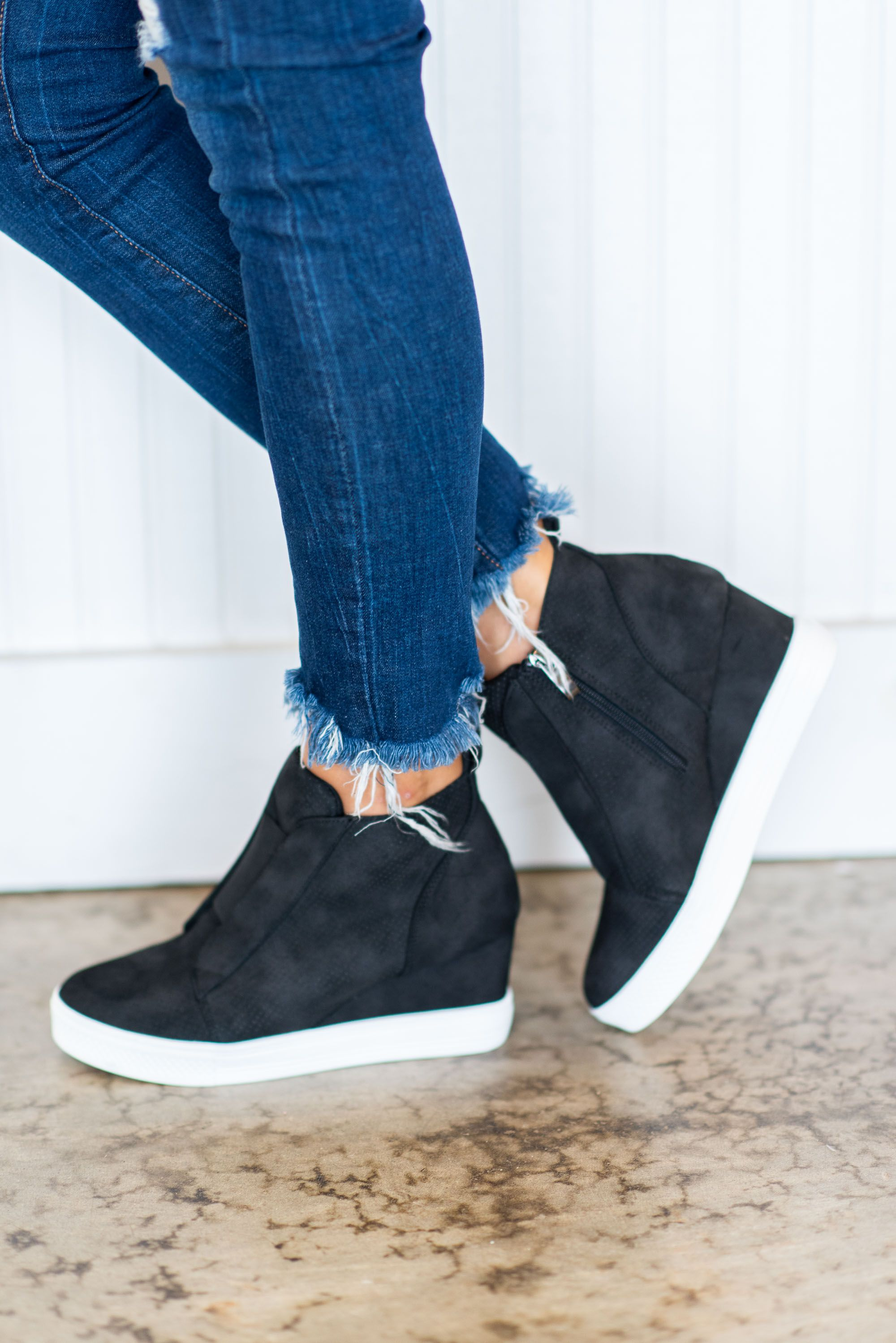 Known By All Black Wedge Sneakers