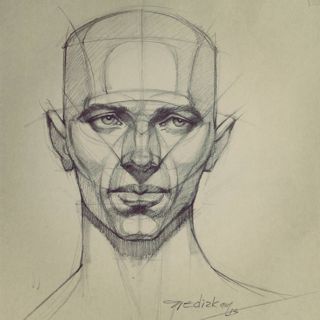 Shapes and lines used to create a very symmetrical looking sketch of a face