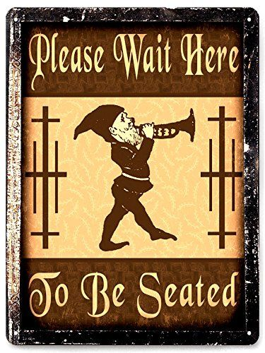 Wait to be seated METAL SIGN for Restaurant diner deli vintage style ...