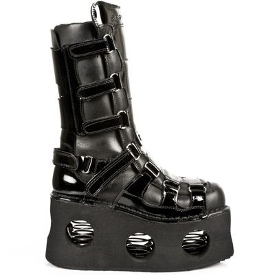 255f954c7c6 New Rock 309 S1 Black Leather NEPTUNO Platform Wedge Velcro Boots ALL SIZES  3-13. ShopLuxeIce. HEX gothic club kid Rave ...