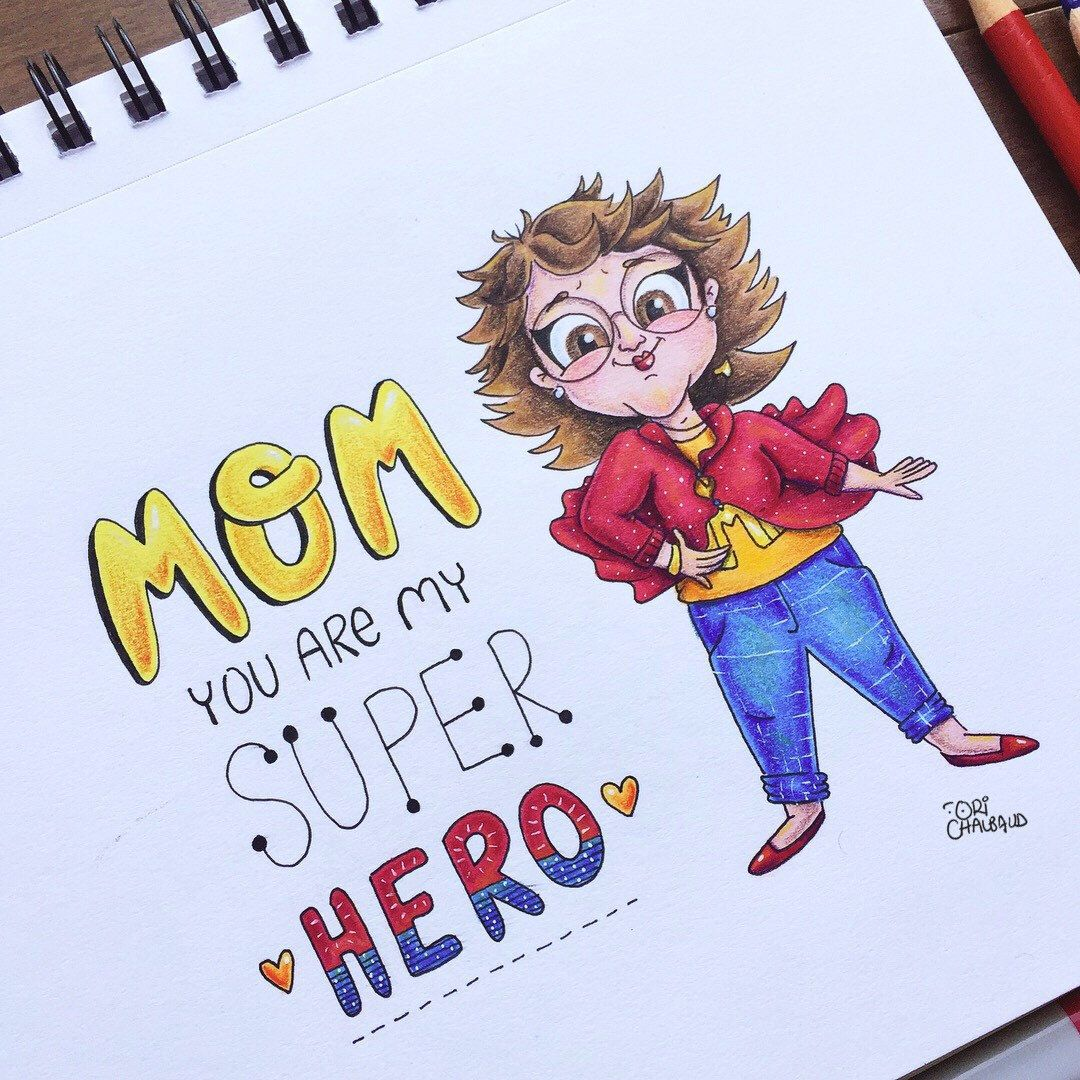 Super Mom Mother S Day Custom Illustration Mom Drawing Mother S