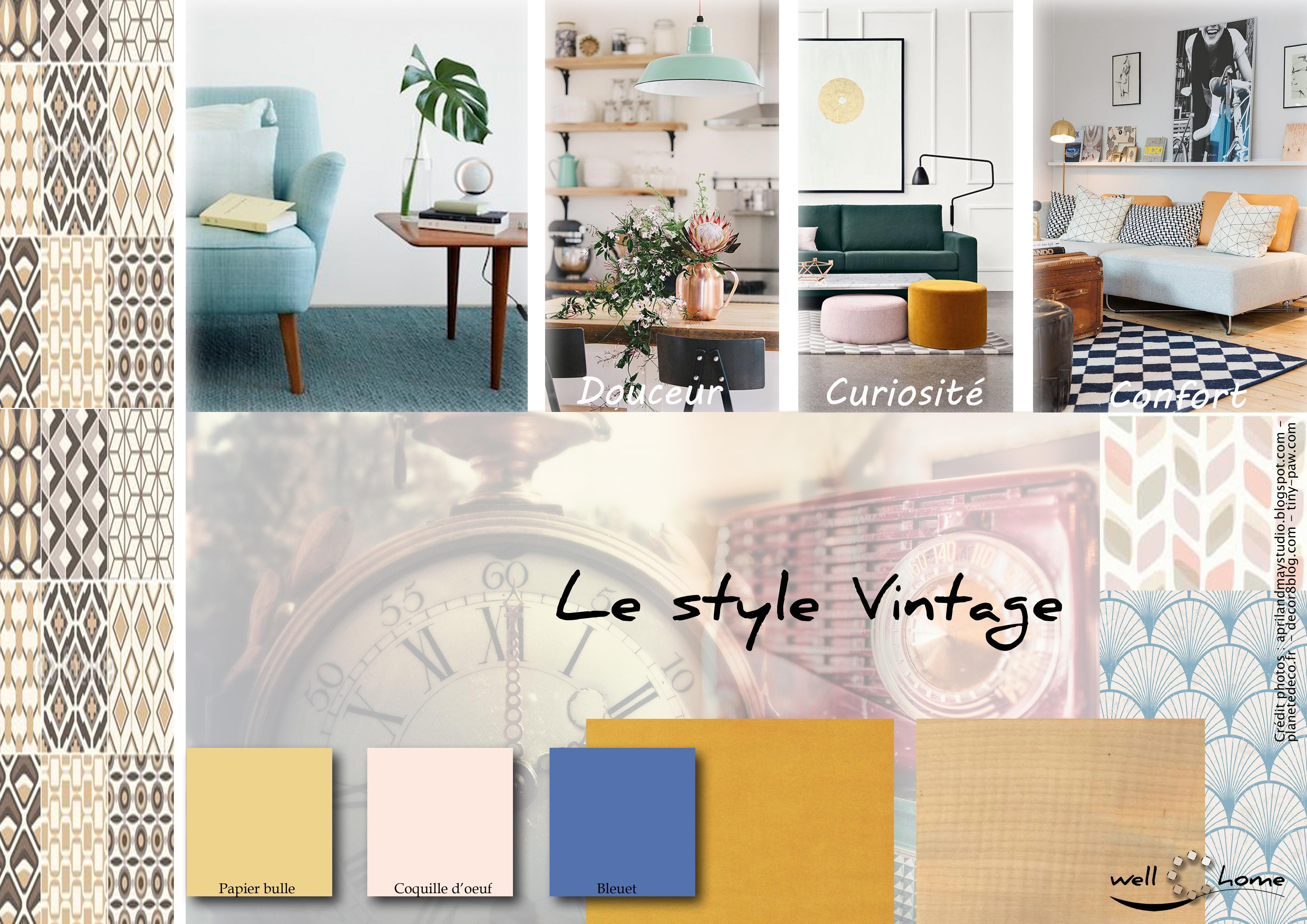 Moodboard d co planche d 39 ambiance tendance style vintage r alisation well c home planche - Planche d ambiance ...