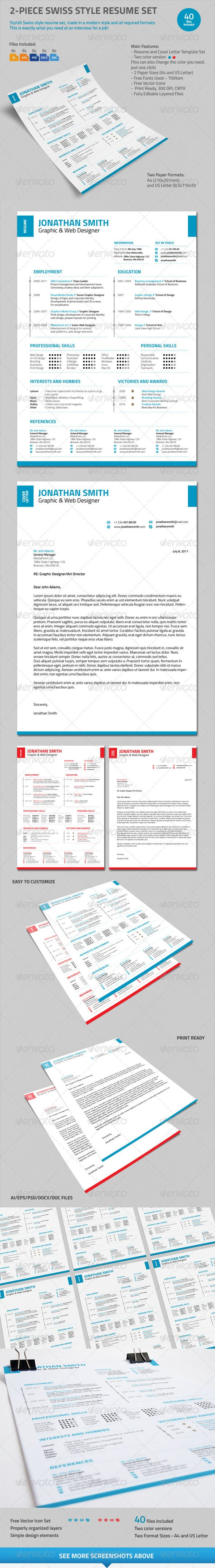Piece Swiss Style Resume Set  Swiss Style Letterhead And Resume Cv