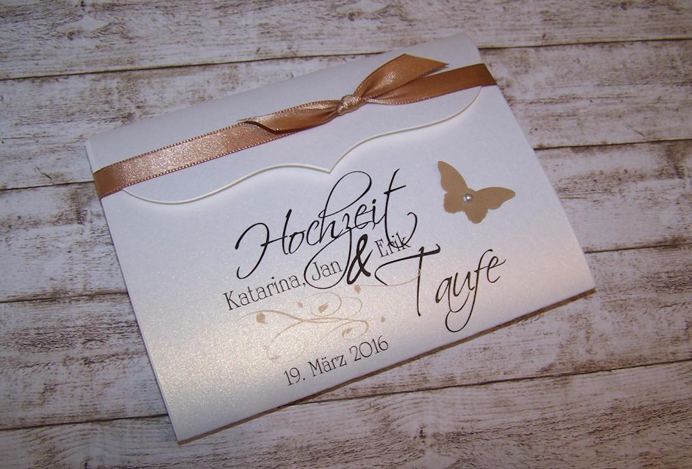 Einladung Hochzeit U0026 Taufe Nougat Bogenkarte Klein
