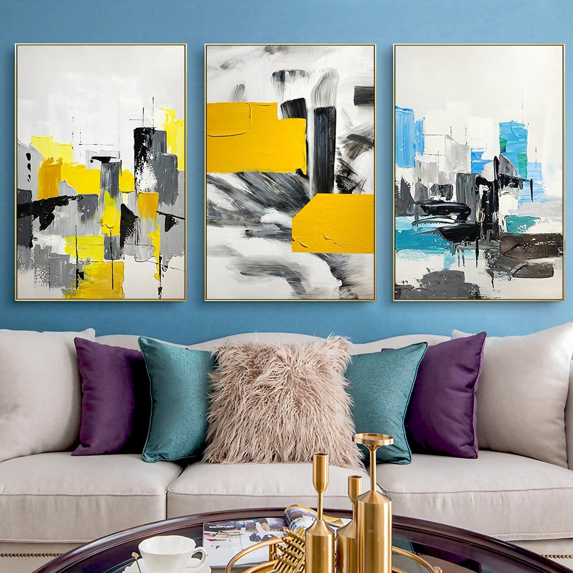 Set Of 3 Frame Wall Art Abstract Acrylic Painting On Canvas Etsy Abstract Canvas Painting Abstract Painting Acrylic Acrylic Painting Canvas