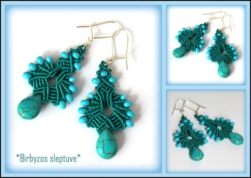 Macrame earrings with turquoise stone beads <3