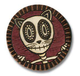 "Day of the Dead Style wood burned magnet, ""Skull Cat"". $20.00, via Etsy."