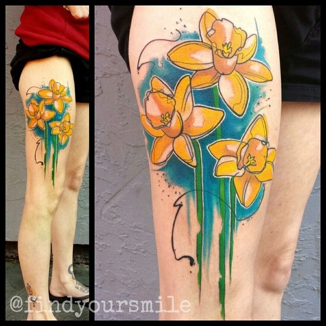 Daffodil By Russell Van Schaick Watercolor Tattoo Watercolor Tattoo Artists Daffodil Tattoo