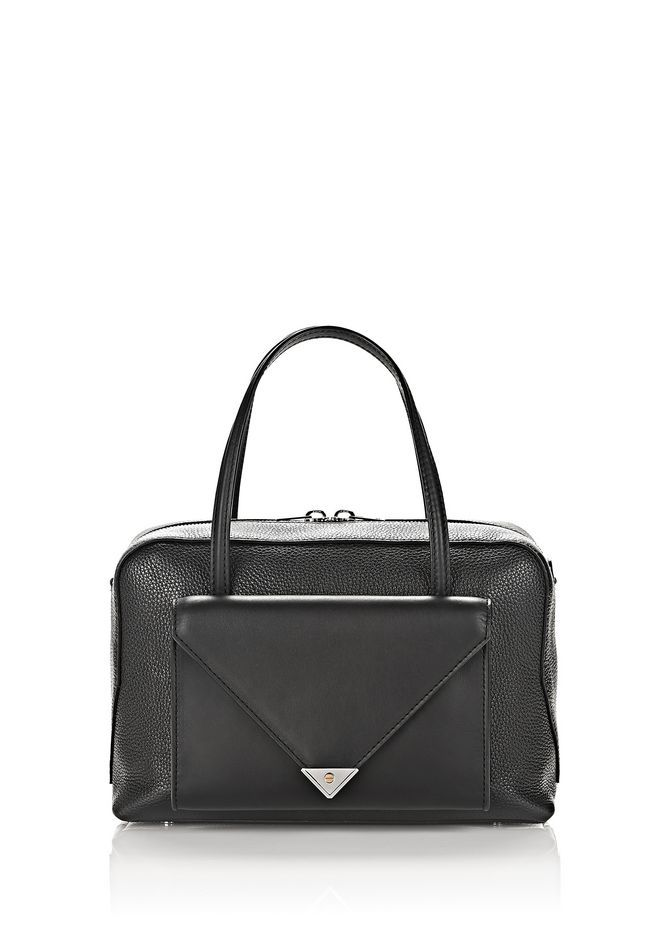 ALEXANDER WANG Prisma Pocket Duffle In Pebbled Black With Rhodium. #alexanderwang #bags #shoulder bags #hand bags #leather #crossbody
