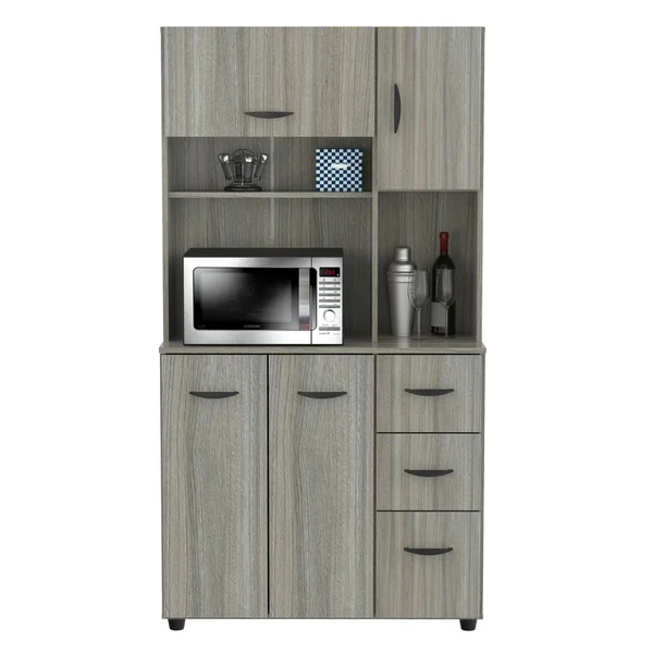 shop inval smoke oak kitchen microwave cabinet free shipping today overstock 28992144 in on kitchen organization microwave id=85560