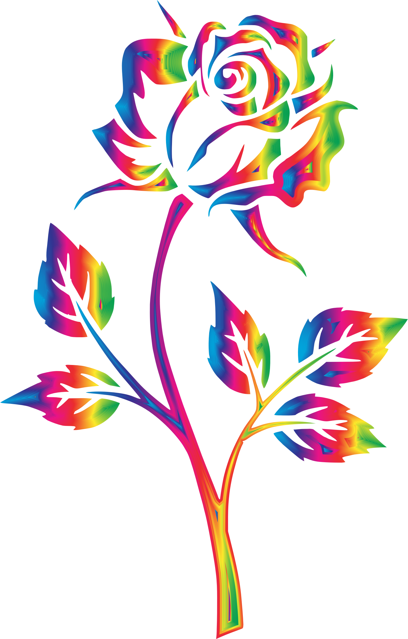 clipart rainbow rose no background [ 1428 x 2234 Pixel ]