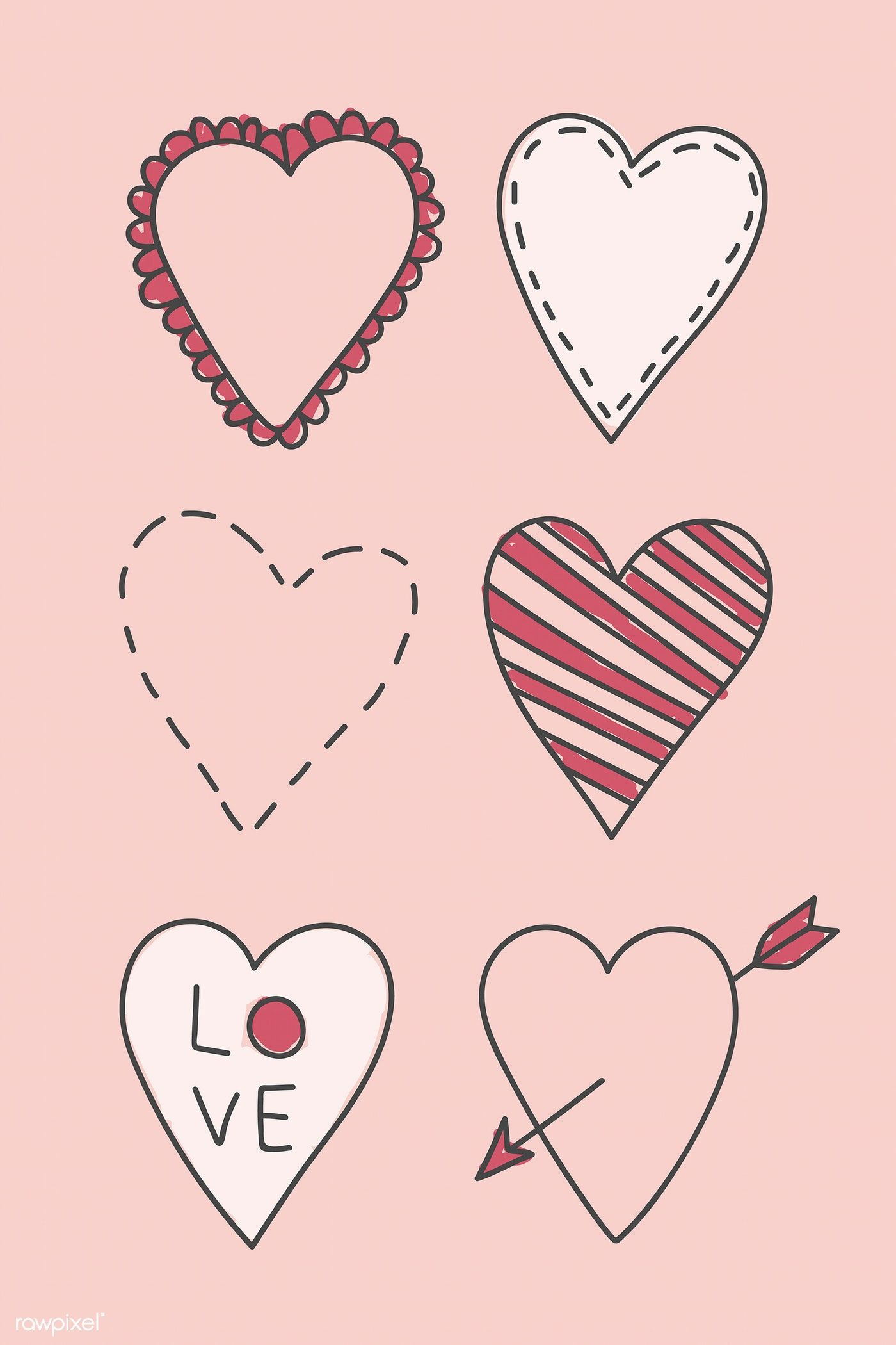 Hand drawn heart doodle vector collection premium image