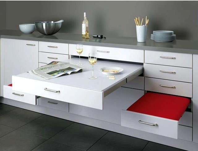 mesa escondida en los muebles | Decoracion | Pinterest | Mesas ...