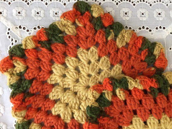 Crochet Potholders Vintage Bohemian Home Decor Hipster Avocado Green Orange 70s Retro Set of ... Cr