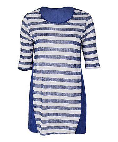 Another great find on #zulily! Blue Stripe Crewneck Tunic - Plus #zulilyfinds