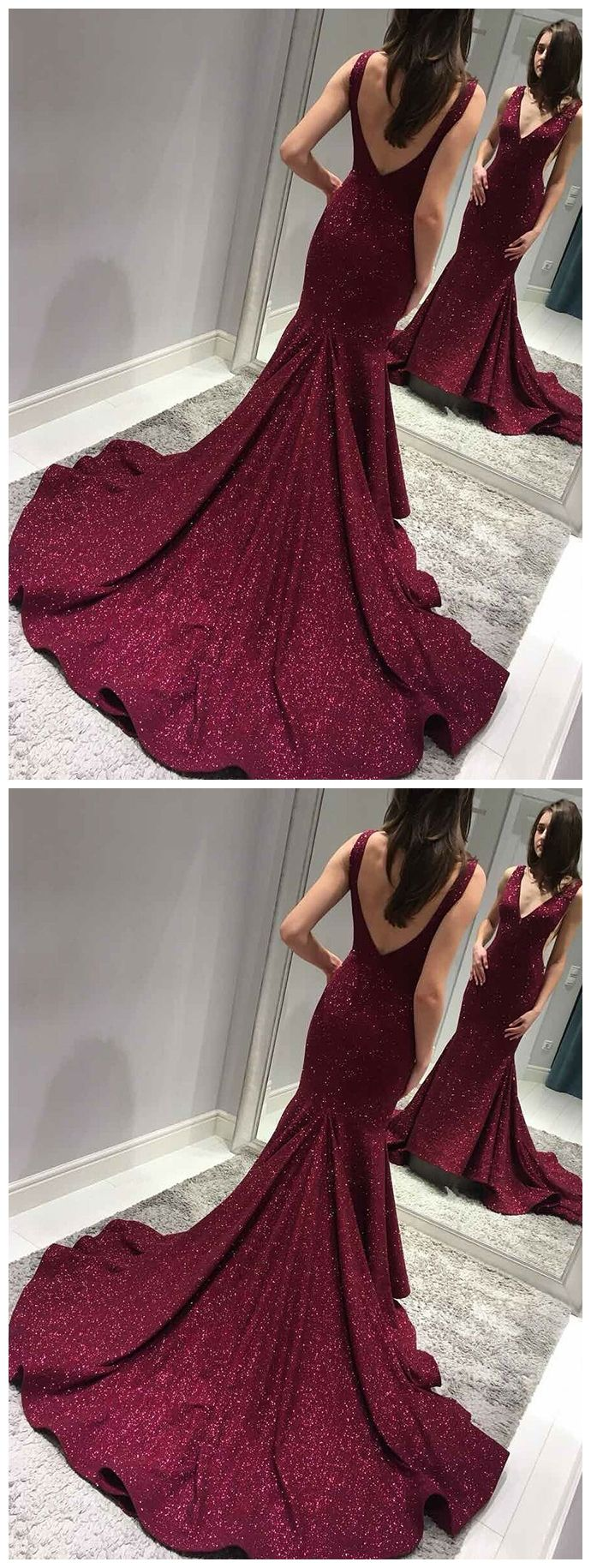 Sexy backless maroon sequin mermaid side slit long evening prom