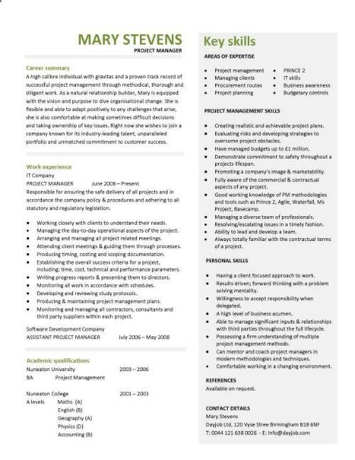 Another Interview Winning Project Manager Cv  Business Ideas
