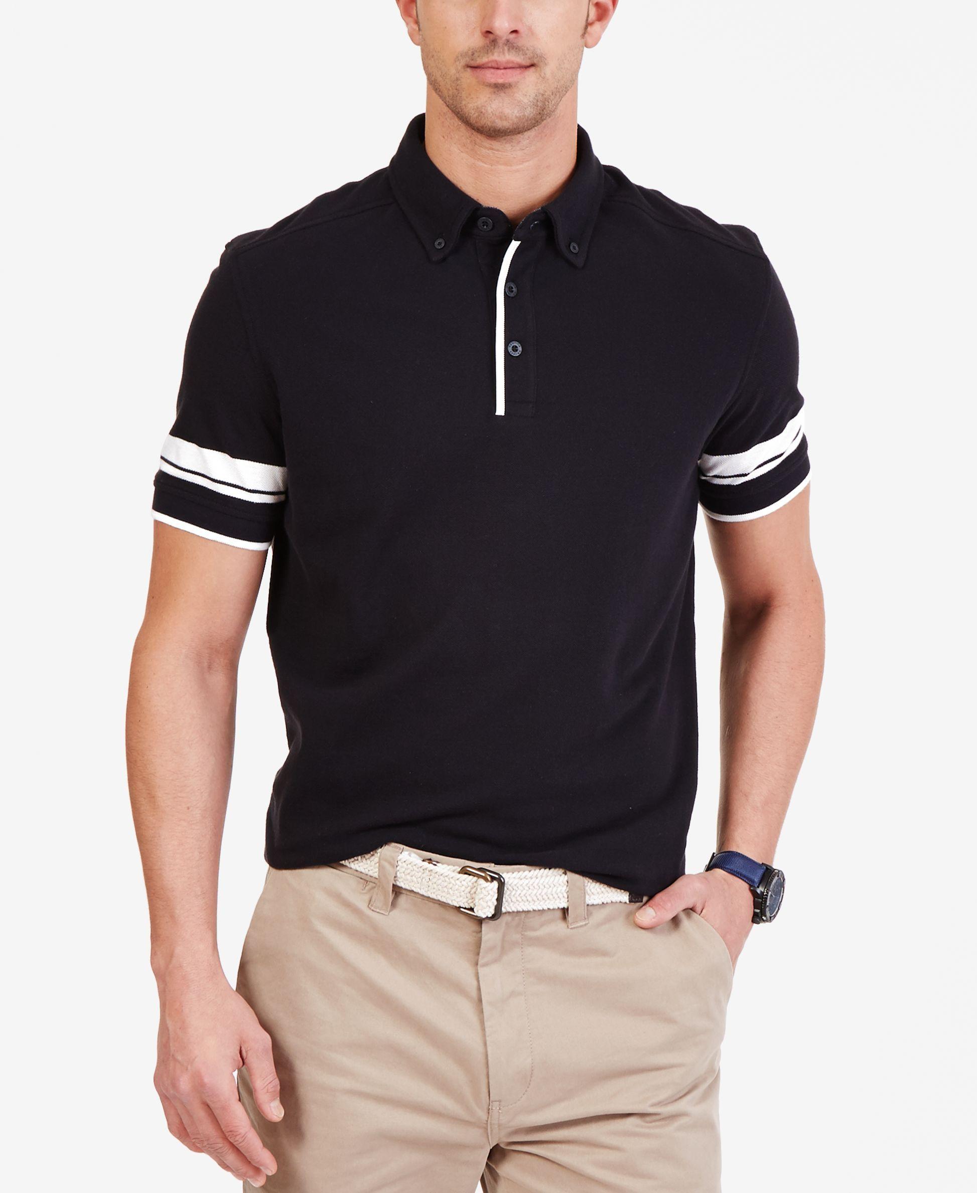 Nautica Mens Striped Sleeve Polo Shirt Dodgy Inspiration Shirts
