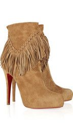 Dear Santa...I love, love LOVE these!! Christian Louboutin fringed suede ankle boots...
