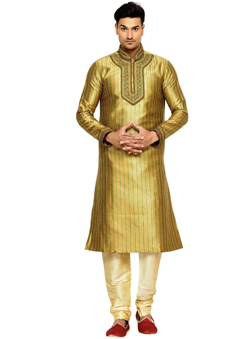 Golden art silk readymade kurta pajama readymade menus wear