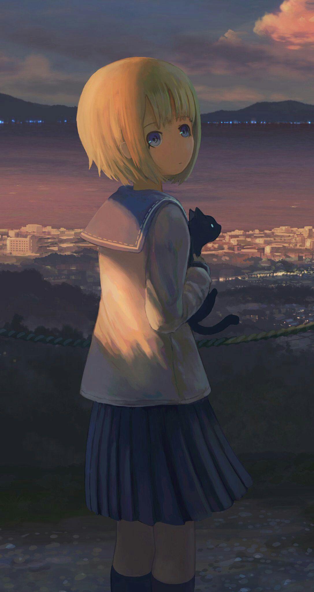 Girls Sky Wallpapers Animegirl Animekawaii Kawaii Sky Wallpapers Girl Kurdishotaku أنمي خلفيات بنات Anime Scenery Anime School Girl Anime